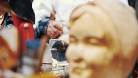 Estudio de Carver de madera, Pinocchio almacen de metraje de vídeo