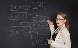 Estudio de funcionamiento duro del concepto de la mujer de negocios Imagen de archivo