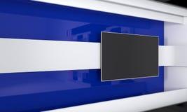 Estudio de la TV Contexto para las showes televisivo TV en la pared Estudio de las noticias El contexto perfecto para cualquier p Imagenes de archivo