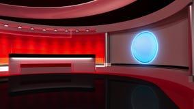 Estudio de la TV Estudio de las noticias Sitio de noticias Noticias de última hora representación 3d almacen de metraje de vídeo