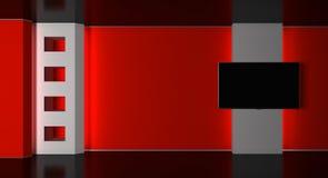 Estudio de la TV Estudio de las noticias Sitio de noticias Noticias de última hora representación 3d Imagen de archivo