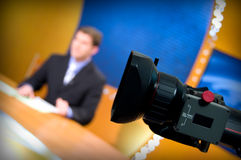 Estudio de la TV para las noticias Imagen de archivo