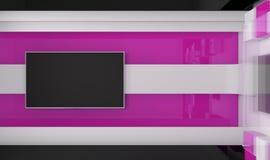 Estudio de la TV TV en la pared Estudio de las noticias Imagen de archivo libre de regalías