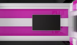 Estudio de la TV TV en la pared Estudio de las noticias Contexto para las showes televisivo Imagen de archivo libre de regalías