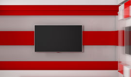 Estudio de la TV TV en la pared Estudio de las noticias Contexto para las showes televisivo Imagenes de archivo