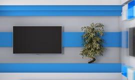 Estudio de la TV TV en la pared Estudio de las noticias Contexto para las showes televisivo Imagen de archivo