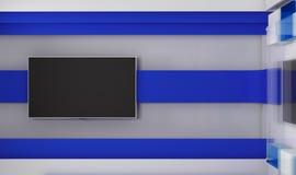 Estudio de la TV TV en la pared Estudio de las noticias Contexto para las showes televisivo Fotografía de archivo libre de regalías