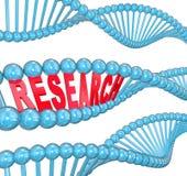 Estudio de laboratorio médico del filamento de la DNA de la palabra de la investigación Fotos de archivo