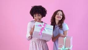 Estudio de las mujeres jovenes aislado en el día rosado del ` s de las mujeres que sostiene las cajas de regalo almacen de video
