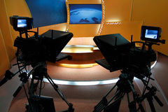 Estudio de las noticias de la TV Imagen de archivo