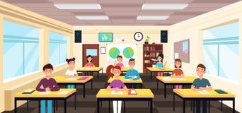 Estudio de los alumnos en interior de la sala de clase Alumnos en concepto del vector de la lección de la escuela ilustración del vector
