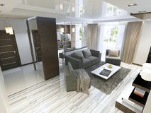 Estudio de lujo de la sala de estar en un estilo moderno Fotografía de archivo libre de regalías
