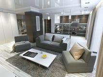 Estudio de lujo de la sala de estar en un estilo moderno Imagenes de archivo