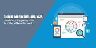 Estudio de mercado de Digitaces - márketing conducido datos, penetraciones del márketing, estadísticas, concepto de la investigac stock de ilustración