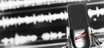 Estudio de radio en línea Micrófono 1 imagen de archivo