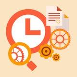 Estudio de tiempo y herramientas y sistemas de la investigación Foto de archivo