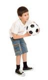 Estudio del muchacho del fútbol aislado Imagen de archivo