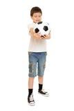 Estudio del muchacho del fútbol aislado Imagenes de archivo