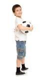 Estudio del muchacho del fútbol aislado Foto de archivo