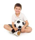 Estudio del muchacho del fútbol aislado Imagen de archivo libre de regalías
