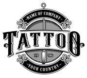 Estudio emblem_4 del tatuaje del vintage para el fondo blanco Fotografía de archivo