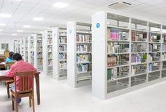 Estudio en una biblioteca   Foto de archivo libre de regalías