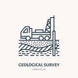 Estudio geológico, dirigiendo la línea plana icono del vector Equipo de la geodesia Investigación de la geología, recogiendo la m ilustración del vector