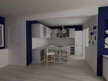 Estudio moderno blanco y azul de la cocina Imagen de archivo libre de regalías