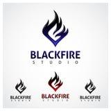 Estudio negro del fuego Imágenes de archivo libres de regalías