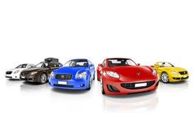 Estudio tirado de coches coloridos en fila Foto de archivo