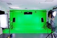 Estudio verde de la pantalla Foto de archivo libre de regalías