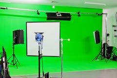 Estudio verde de la pantalla Foto de archivo