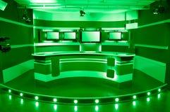 Estudio verde de la televisión Foto de archivo libre de regalías