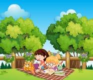 Estudo das crianças exterior com um gato ilustração royalty free