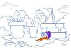Estudo de aprendizagem bem sucedido de assento da educação do estudante do conceito do livro de leitura do desktop do escritório  ilustração royalty free