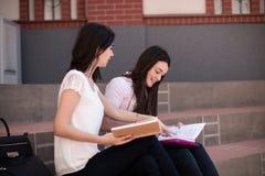 Estudo de dois estudantes fêmeas, preparando-se para exames junto fora Fotos de Stock Royalty Free