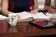 Estudo devocional da Bíblia das mulheres imagens de stock royalty free
