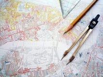 Estudo do mapa do planeamento de cidade Imagem de Stock Royalty Free