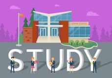 Estudo no conceito liso do vetor do estilo da escola superior ilustração do vetor