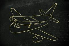 Estudo no exterior: avião com tampão da graduação Foto de Stock Royalty Free