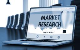 Estudos de mercado no portátil na sala de reunião 3d foto de stock royalty free