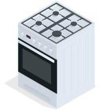 Estufa de gas blanca Cocina derecha libre Ejemplo isométrico plano del vector 3d Fotos de archivo libres de regalías