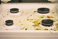 Estufa de gas sucia Fotografía de archivo libre de regalías