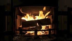 Estufa de la chimenea con madera ardiente Imagen de archivo