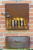 Estufa finlandesa vieja de la sauna Imagenes de archivo
