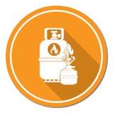 Estufa que acampa con el icono de la botella de gas Fotos de archivo