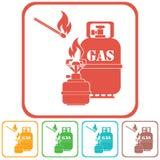 Estufa que acampa con vector del icono de la botella de gas Imagen de archivo