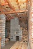 Estufa rusa en la casa bajo construcción Imágenes de archivo libres de regalías