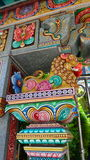 Estuque colorido do guardião do leão do templo de Mahamariamman na estrada Banguecoque de Silom, chamado famosamente como Wat Kha Imagem de Stock Royalty Free