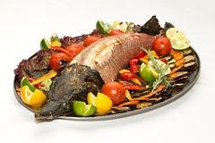 Esturgeon de poissons sur le gril Images libres de droits